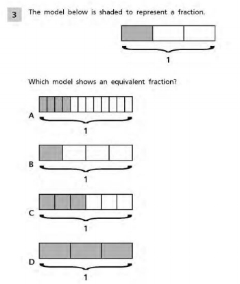 PARCC - 4th grade Fractions sample question