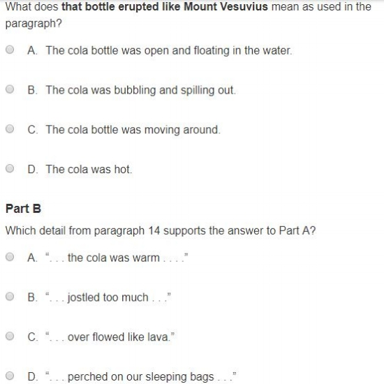 PARCC - Evidence Based sample question