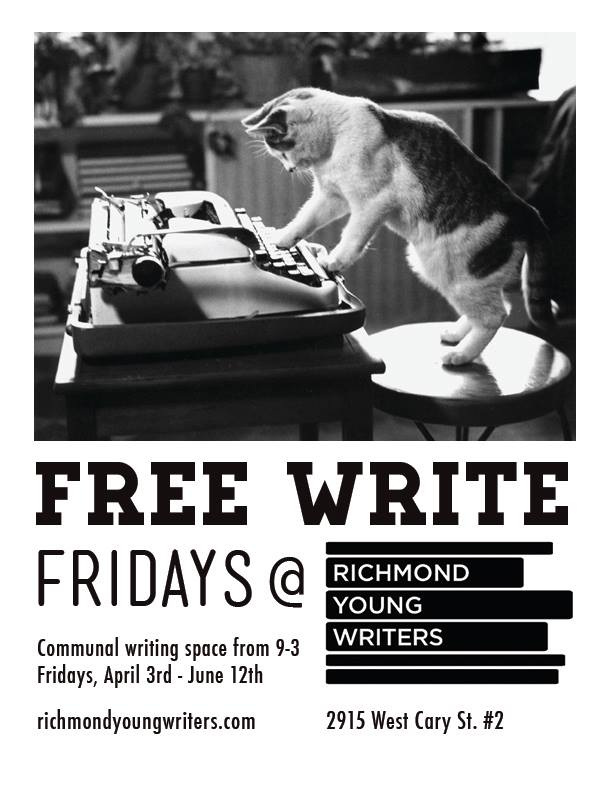 Please join us for Free Write Fridays hosted by Leanne Burton. Bring your own writing project and enjoy communal writing space! Coffee & tea provided; donations accepted.