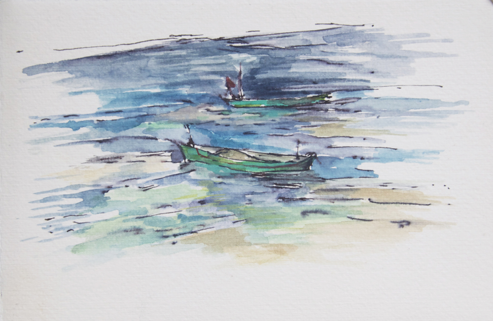 ink, watercolor. Boats in Goa.jpg