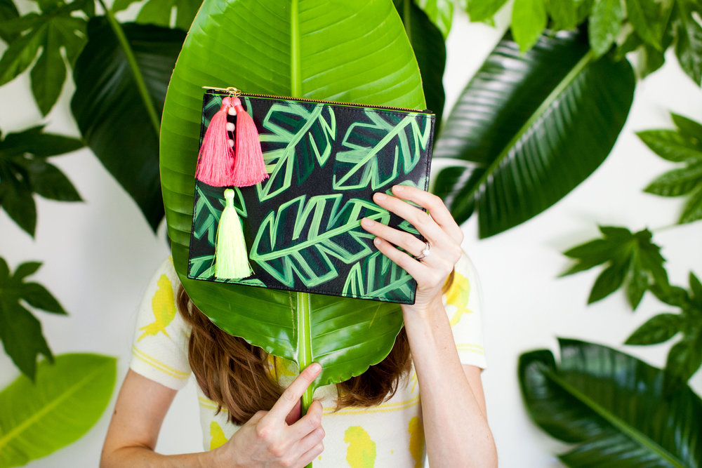 Banana Leaf // Zip Clutch from JUNGLE QUEEN LOOKBOOK by Ann Howell Art