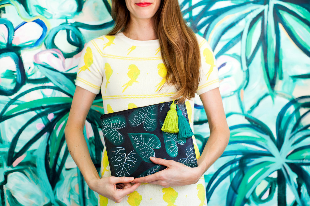 Jungle Collards // Zip Clutch by Ann Howell Art
