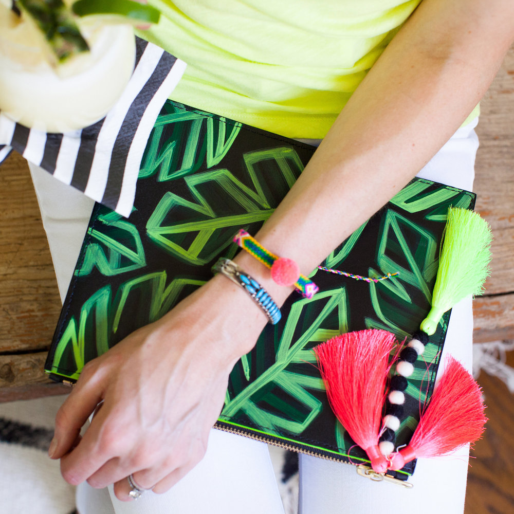 Banana Leaf Zip Clutch // JUNGLE QUEEN by Ann Howell Art