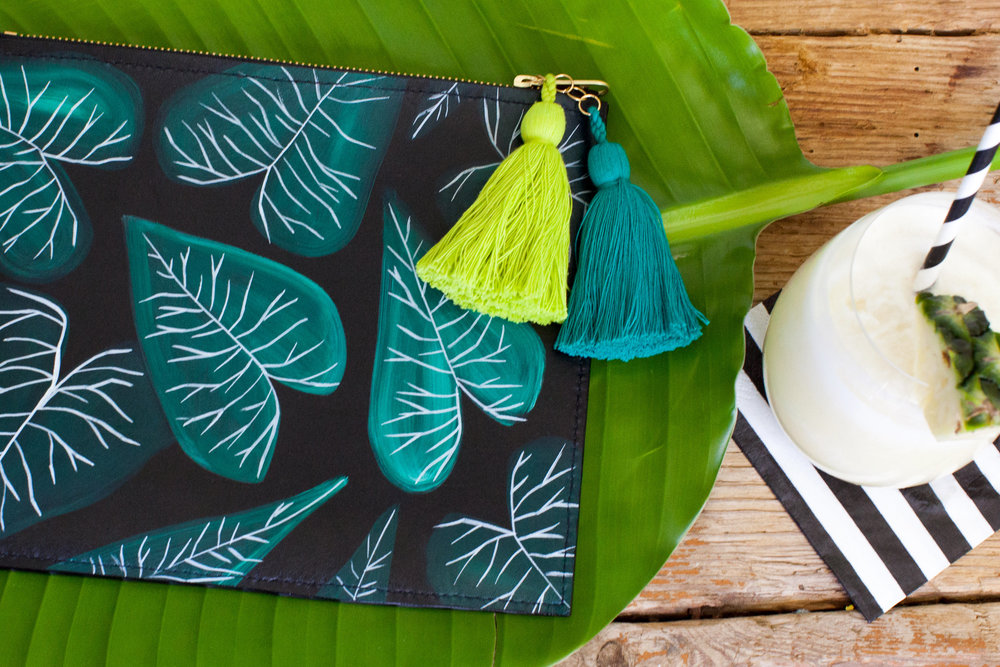 Jungle Collards Zip Clutch // JUNGLE QUEEN by Ann Howell Art