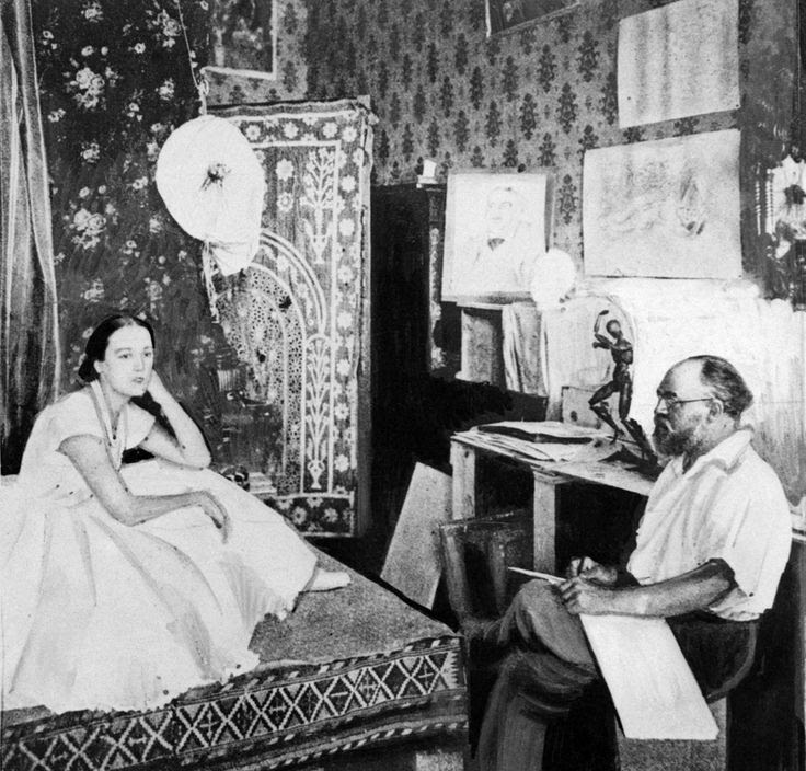 Matisse at his studio in Nice, France, 1927. Via   Buzzfeed