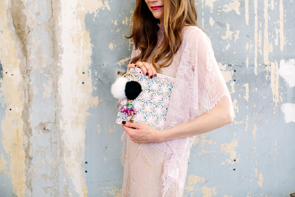THE JASMINE CLUTCH   // PICTURED WITH ELEPHANT + POMS