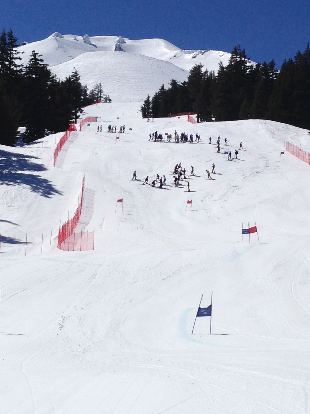 The Cliffhanger venue at Mt Bachelor during 2016 U14 Champs. This is where the May Day races are usually held.