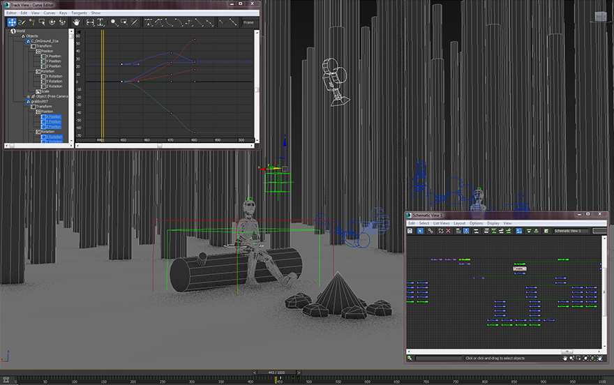 Screenshot of my work set up. Can see rough animations and hierarchies here.