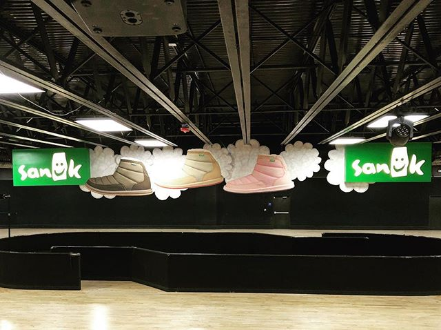 6' BOOTS from the rafters?? Hell yeah, we did. #sanuk #design #build #display #woodworking #wood #print