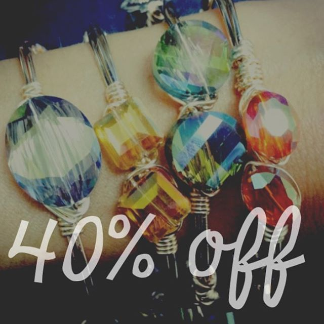 PRE-NEW YEARS SALE! 🎉 all items 40% off today + tomorrow only! Shop at www.ellazjewels.com #ellaZjewels #handcrafted #diyjewelry #bangle #jewelrysale #inexpensivegifts #wirewrapped #stack #gems #fashion #jewelry #accessories #bracelet  #wristwear