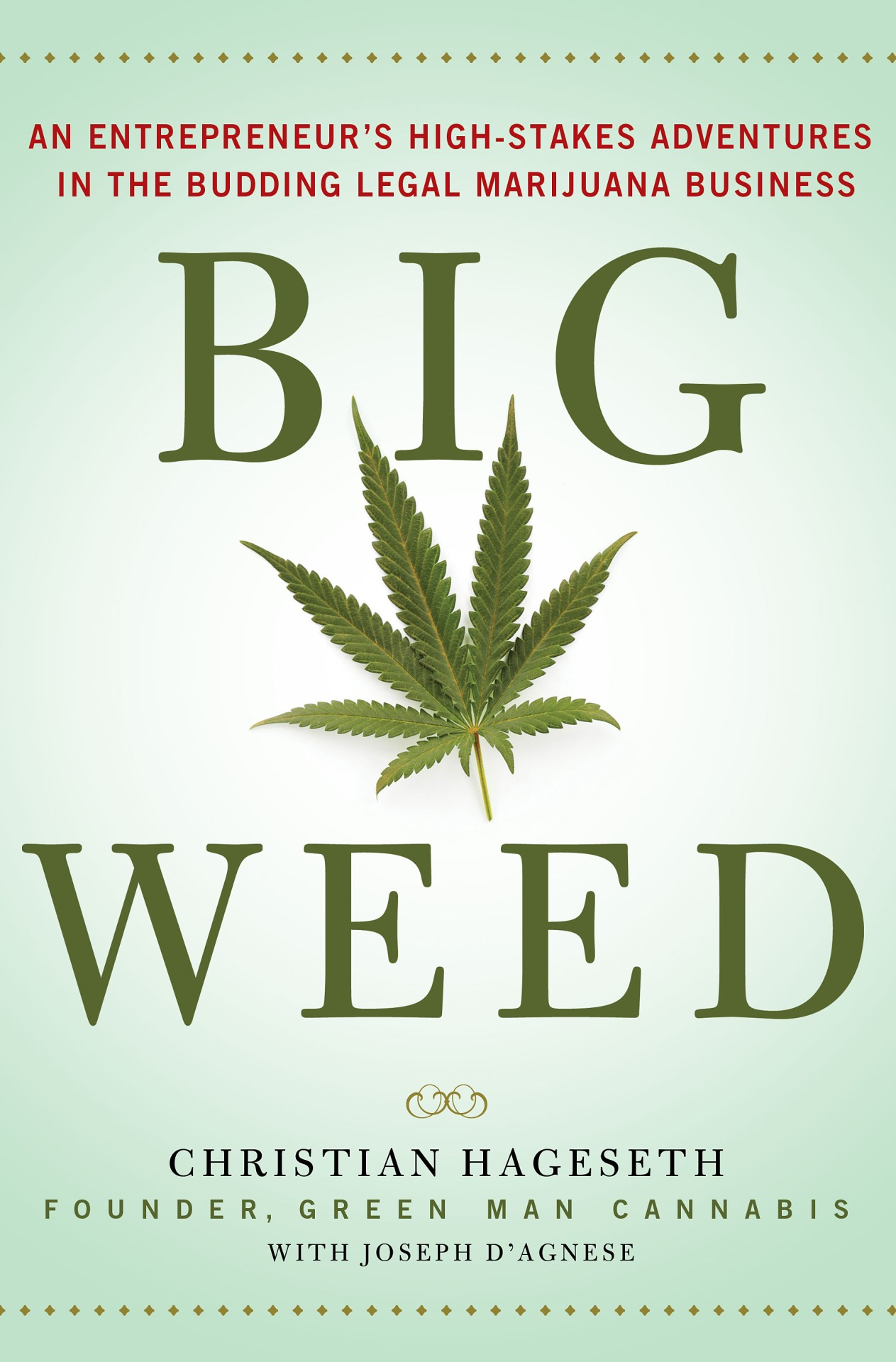 "Pre-order: BIG WEED    I ghosted a business memoir this year that is already up for pre-order on  Amazon ,  BN ,  iBookstore , and  Kobo . Among other things, it's story of a Colorado businessman who dreams of building a state-of-the-art tourist destination in the foothills of the Rockies devoted to the glory of (legal) marijuana—and makes that dream come true. He shares the story of how he got into this burgeoning field, his company's ups and downs, and insights that can be applied to almost any other business.   I've written about a half dozen books for business guys, in their voices, but Mr. Hageseth is the first to permit me to share a byline with him. You can see the gorgeous plans of his upcoming ""weedery""—which I'd describe as being like a brew ery , win ery , mead ery , or cid ery , only with marijuana— at this website . The $25 million-dollar facility is currently under construction.   Palgrave/Macmillan pubs the book April 20, 2015, a date that has special significance for cannabis lovers. What's my special contribution to this project?  Sneaking into the text this H.P. Lovecraft reference .    Please note:  If you would prefer to pre-order through an independent bookstore, please hold off buying. I should have info about signed indie pre-orders soon. In any case, keep a receipt of your purchase. There is likely to be some type of intoxicating giveaway looming in the future."