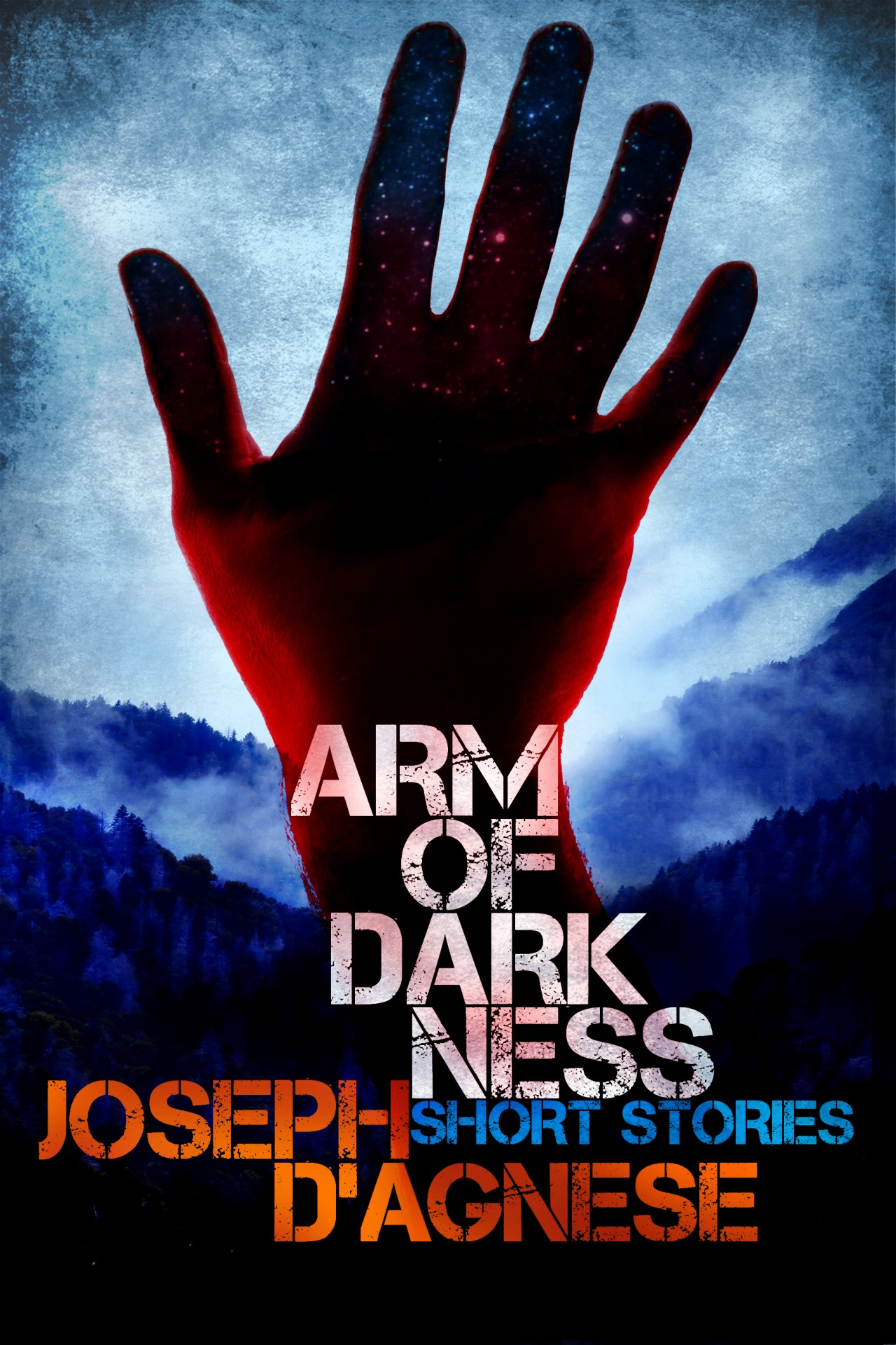 ARM OF DARKNESS.  A mysterious demonic stranger intrudes upon the lives of unsuspecting people, forcing them to make choices with horrific consequences. Six short stories.  * * *  His hand is fashioned from the night sky.  It is powerful, dark, deadly.  He dwells in the world's oldest mountains and always comes bearing gifts.  Truth is, he cares nothing for you. He is a trickster, a prankster, a demonic being who desires only to wreak casual violence on every human he meets.  He's about to offer you a bargain.   Piece of advice? Don't trust him.   * * *    ARM OF DARKNESS  contains six short stories— Skullworm, Roadhouse, Glow, Kin, Sunshine Lady  and the origin story,  Arm of Darkness —for a total of 30,000 words. Three novel excerpts are also included in this e-book.   Available:    Kindle (US)     Kindle (UK)    Nook    iPad    Kobo    Smashwords    Paperback