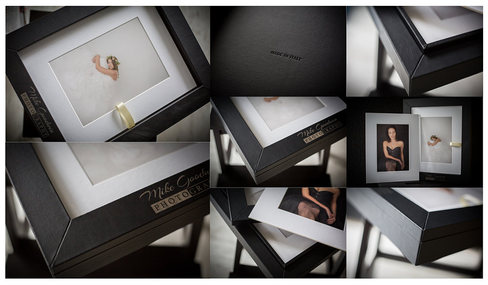 Covered in a soft leather, clear window lid to 'frame' your top photograph.