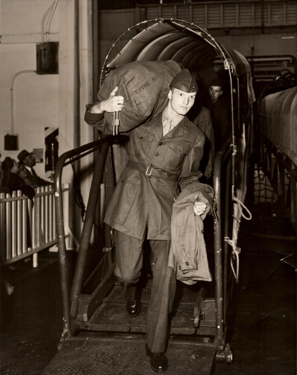 Home from Korea, Jim disembarks the  USNS General Gordon  in San Francisco, April 20, 1953.