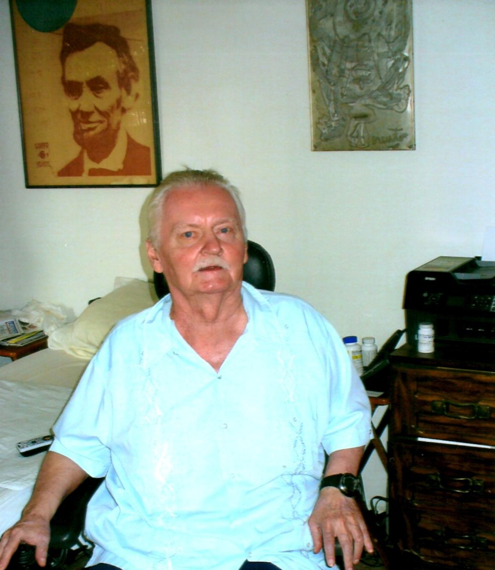 Bruce Broede in 2009, with Brewton's The Chinese Lincoln (1966) and Ubu's Military Mind (1962) in the background.