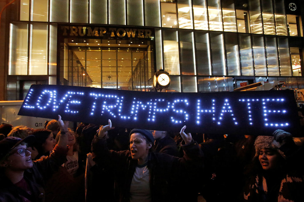 Protesters gathered outside Trump Tower on the day after the election. New York City, November 9, 2016. Photo credit: Andrew Kelly TPX/Reuters.
