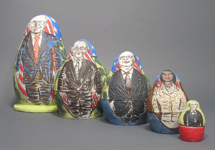 "Above:  BaBUSHka Dolls  by Cheryl Harper, 2006, ceramics, Cheney doll is 12"" h."