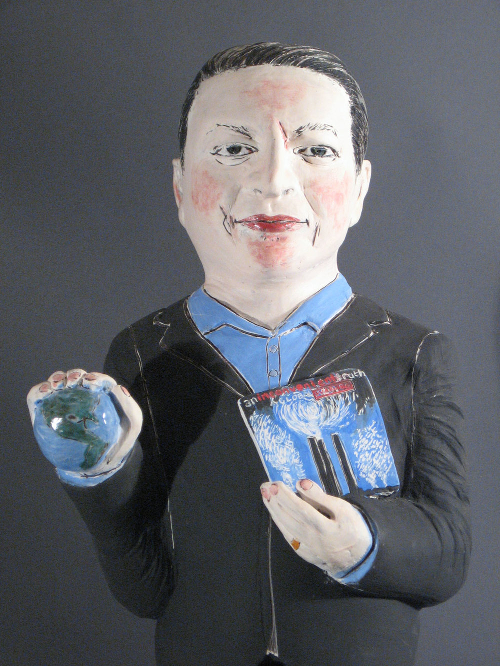 "Above:  The Teaching Gore  (detail) by Cheryl Harper, 2008, Ceramic sculpture, 32"" h."