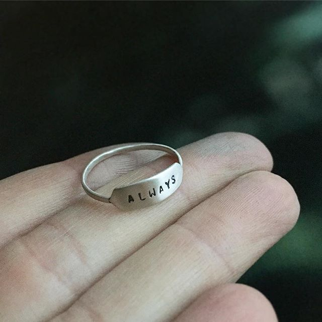 Starting to see those Valentines orders - custom silver 'Always' ring getting sent out today #metalsmith #silversmith #etsyshop #differencemakesus #handmadejewelry #handstamped #jewelry #etsy #valentinesideas #vsco