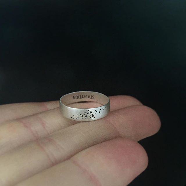 Get that Aquarius in your life something special for their birthday - just added another ring style to the constellation collection, a simple band with stamped details inside and out. ♒️ #metalsmith #silversmith #handmade #ring #etsy #etsyshop #handstamped #valentines #etsyshop #etsyjewelry #aquarius #constellation #zodiac #vsco