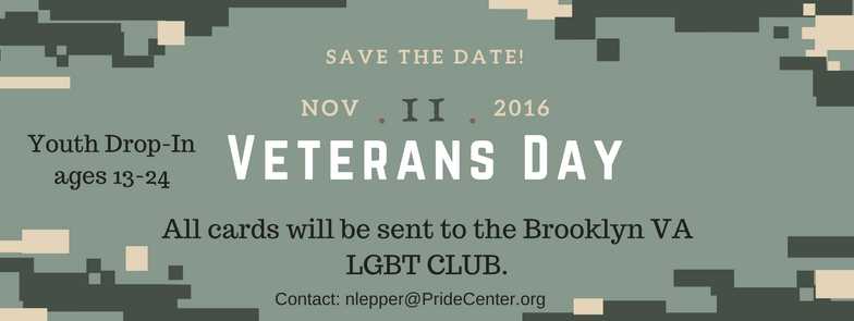 Make cards of appreciation for the Brooklyn VA LGBT Club!  **All Youth drop-In activities and events are for youth 13-24 years old who have completed Youth Drop-In orientation. Orientation is offered Wednesdays and Fridays at 4 pm If you have any questions please contact: nlepper@pridecentersi.org