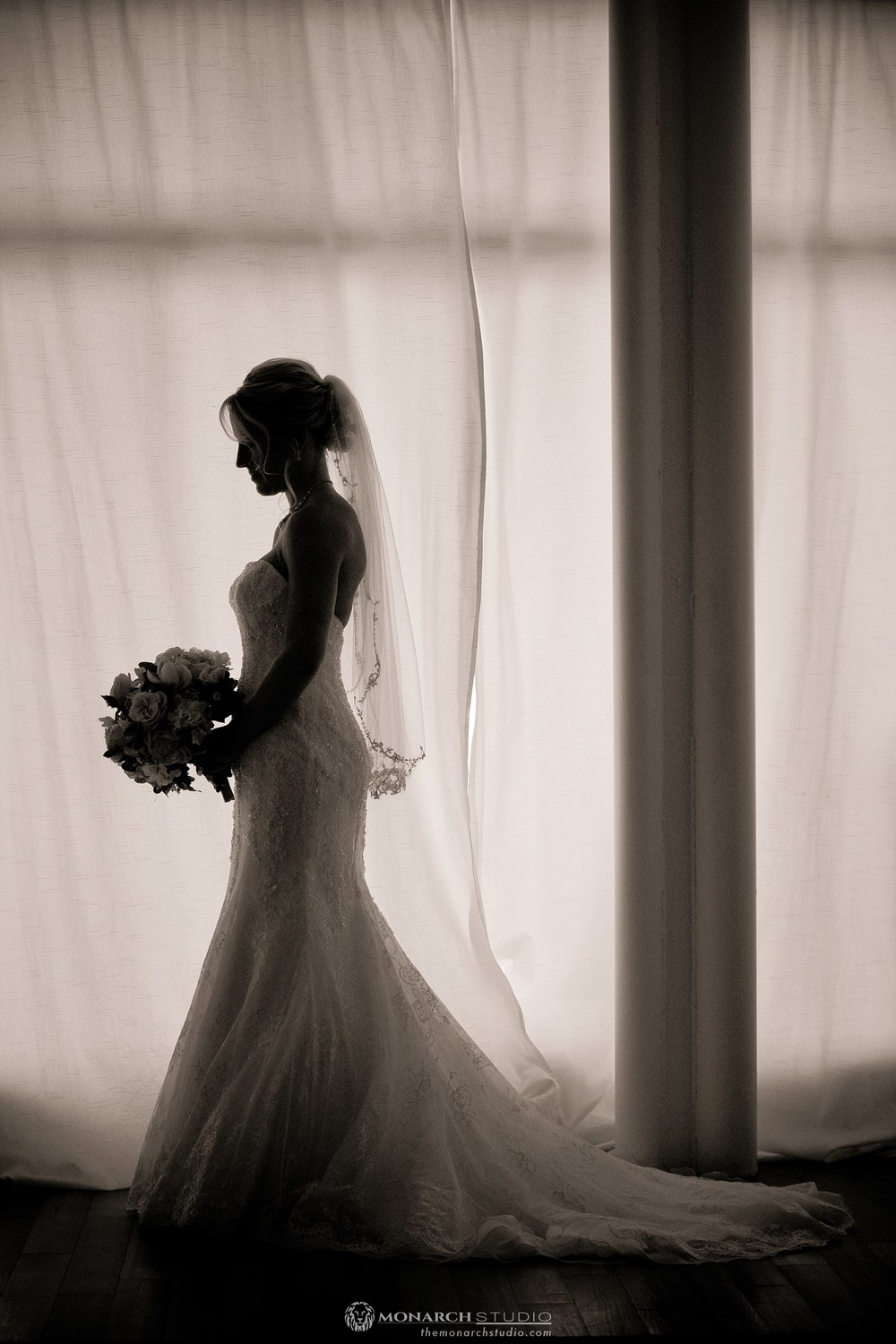 Intimate bridal portrait before a Villa Blanca wedding ceremony in St. Augustine, FL.