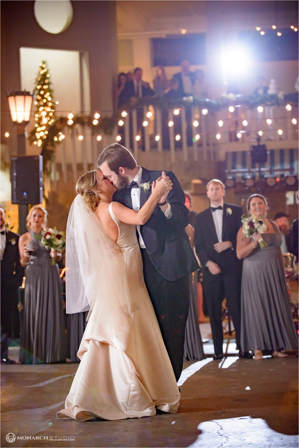 Curtis and Kathrine share a kiss as they share their first dance in the historic  Lightner Museum