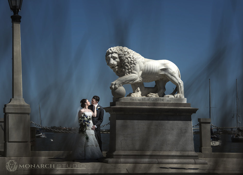 Tara and Brandon, at the base of the Historic Bridge of Lions in Downtown Saint Augustine