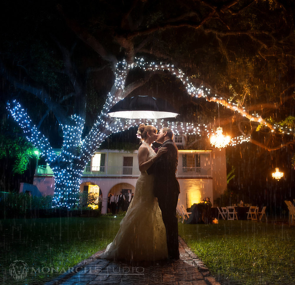 When the guest ran for cover, Scott and Amanda used the opportunity to capture this shot underneath one of  The Oldest House's  famous oak trees