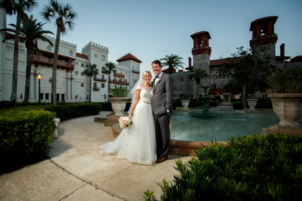 Newlyweds David and Stacey in front of the historic Lightner Museum just after their wedding!