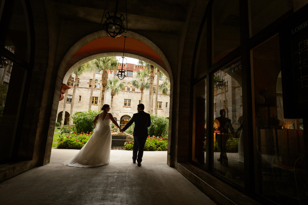 Adam and Andrea enter into the Courtyard at the Lightner Museum