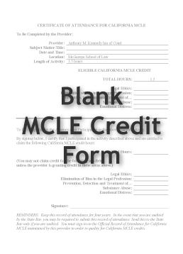Blank MCLE Credit Form