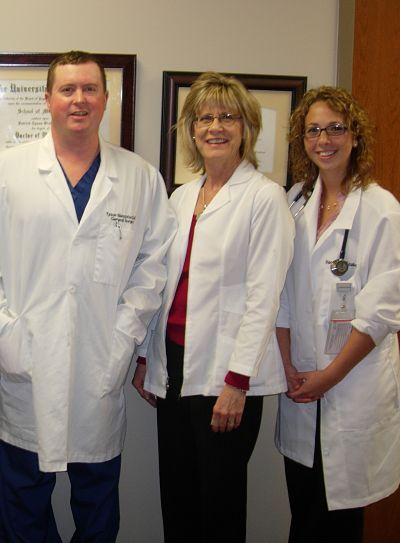 Pictured (from left): Dr. Tyson Blatchford, Registered Dietitian Diane Ray, and Physician Assistant Racquel Szabo focus on nutrition as an important part of a healthy lifestyle for their patients at South Central Kansas Medical Center. Ray is now offering free grocery store tours for the general public.