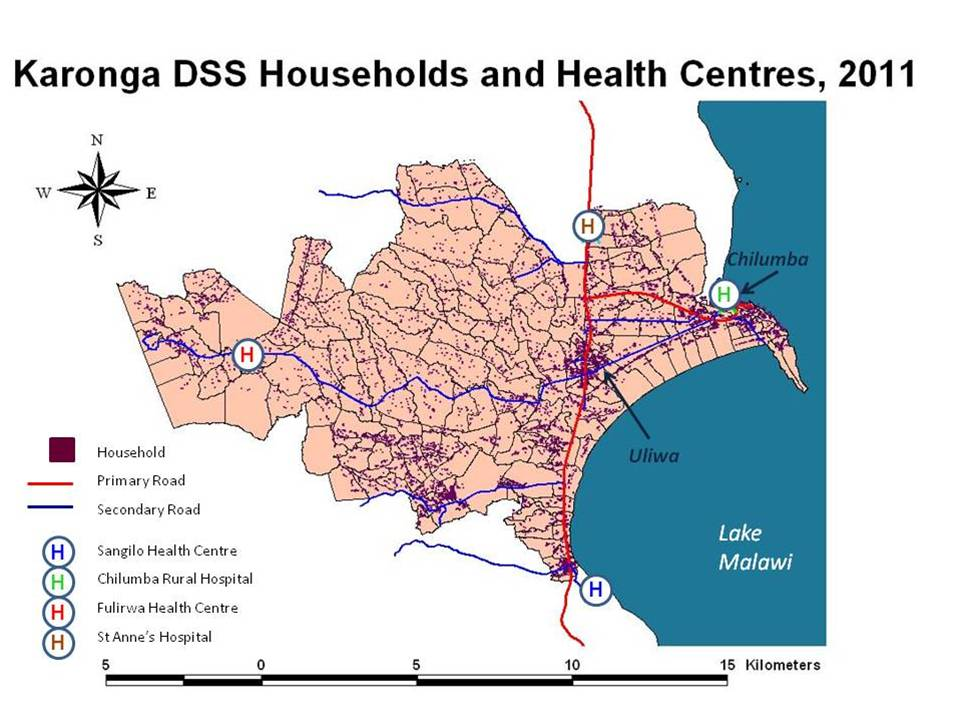 Map of Malawi showing the location of the Karonga Health and Demographic Surveillance Site (HDDS) in Karonga District at the northern end of Lake Malawi. The second smaller scale map shows the households and health centres in the Karonga HDSS. © Karonga Prevention Study