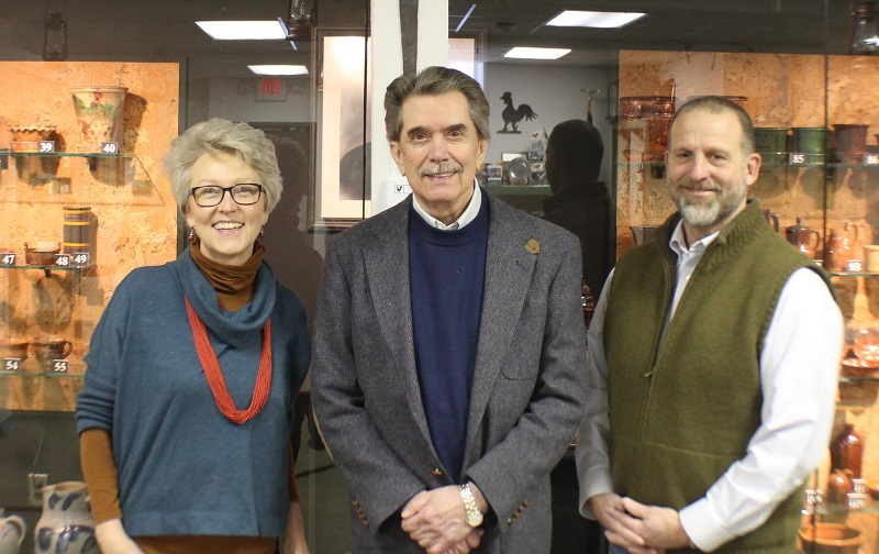 From left to right Mary Ashe-Mahr, NCCS' Executive Director, Dr. Gene Comstock and Dade Royer, Renfrew Museum's Executive Director in front of the Museum's John Bell collection.