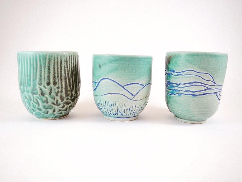 Seafoam Teacups, stoneware.jpeg