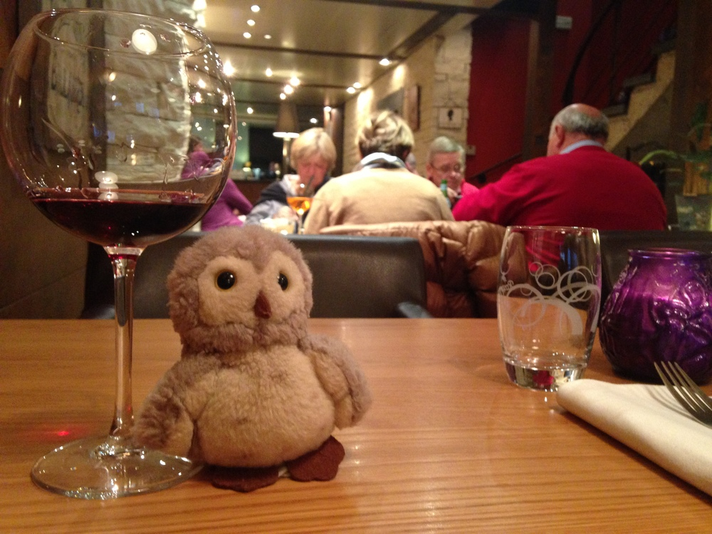 Owlet, as always, is a terrific traveling companion. Also: Those two guys sitting on the table behind owlet each destroyed a giant bowl of mussels, expertly and methodically.