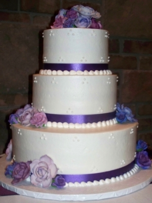 Purple Ribbon With Gumpaste Flowers