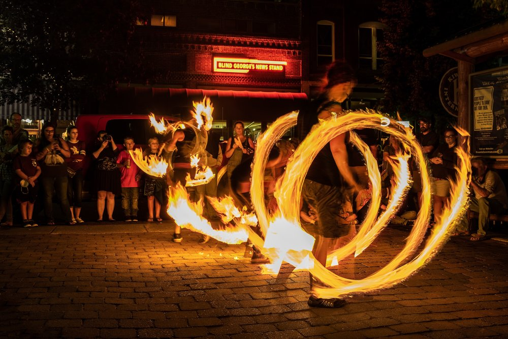 First Friday Fire Spinning Show in Downtown Grants Pass, Oregon (6th and G) at Last Light.