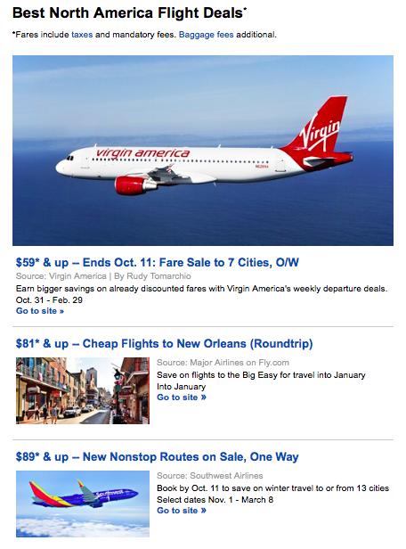 Travelzoo North American flight deals