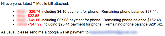 Monthly email I send out informing family plan members how much they owe.