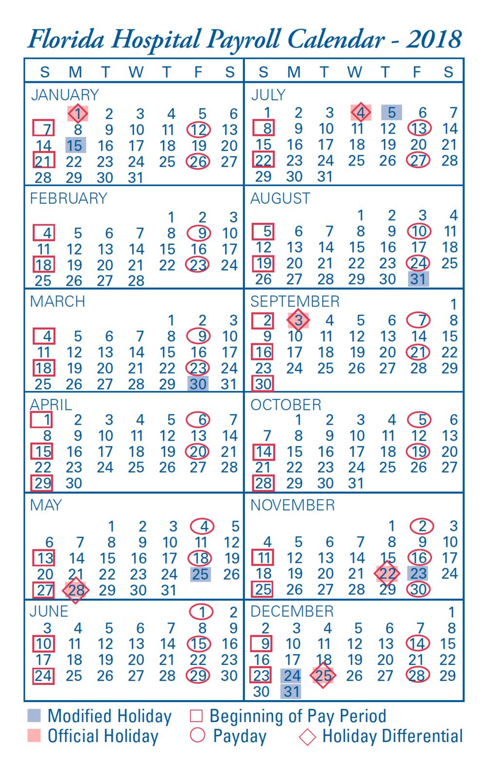 2018 Payroll Calendar