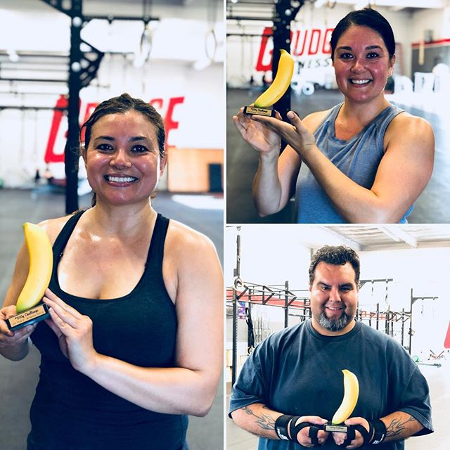Congrats to our 🍌 trophy winners Bonnie (1st), Ivet (2nd), and Rey (3rd). 🙌 They crushed our #800gchallenge Nutrition Challenge for 4 straight weeks. The main objective...consume 800 grams of fruits and veggies a day. In addition, there were a variety of other ways in earning points such as working out and weekly bonus goals. Thank you @optimizemenutrition and @sugarwod for leading the way and congrats to all other participants. 🍎🍊🍌🍉🍇🍓🍍🥝🥒🥦🥑🍆🍅🌶🌽🥕🥔🍠 . . . #grudgefitness #gardengrove #westminster #orangecounty #ocfitness #crossfit #performancebased #nutrition #fitness
