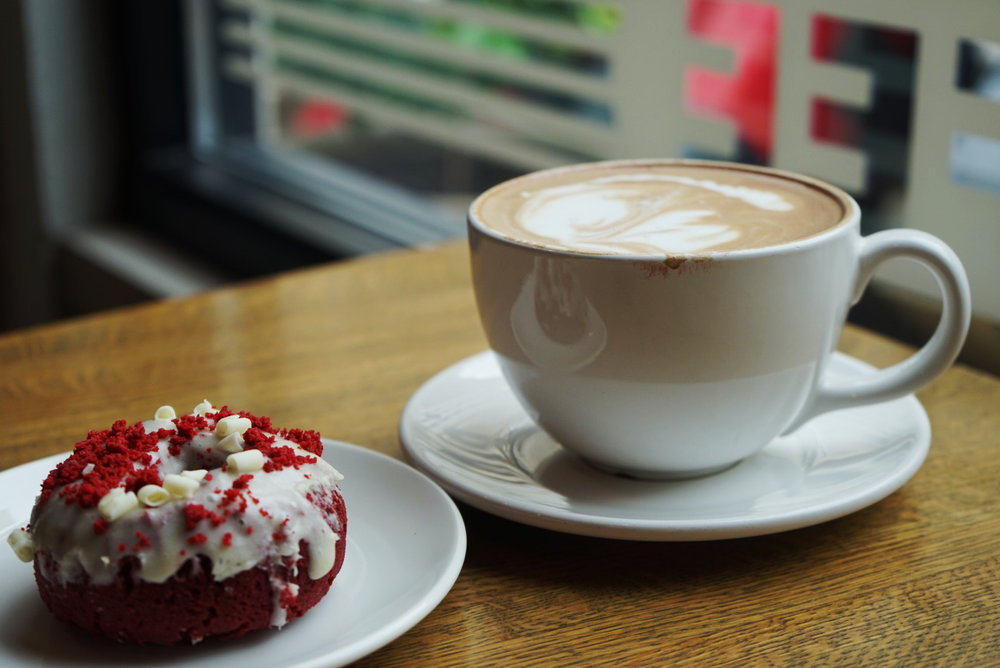 Latte and Red Velvet donut at Everyday Coffee