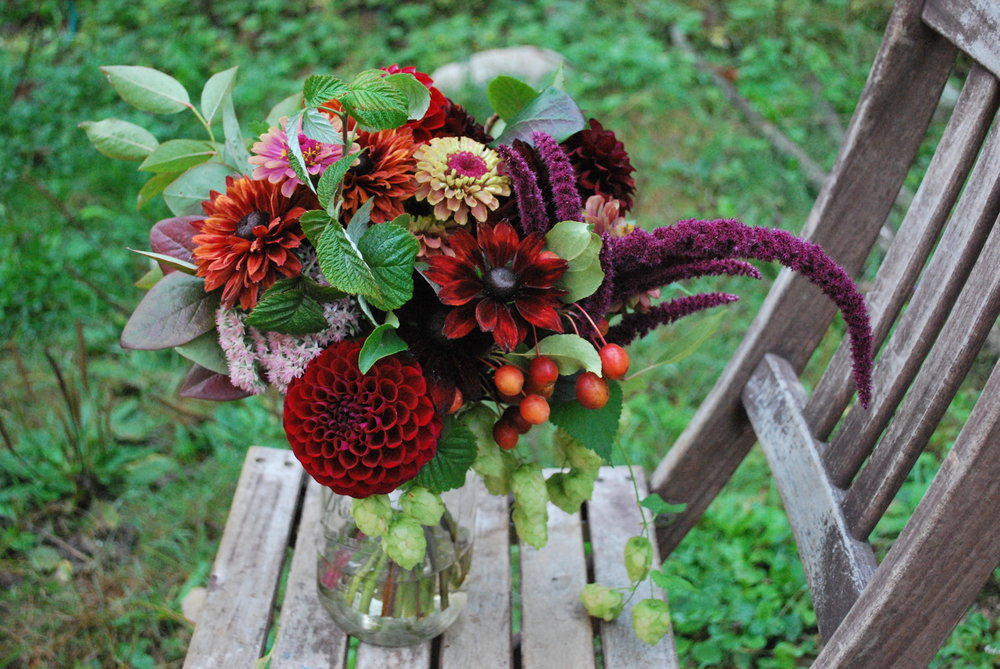 September bridal bouquet: dahlias, rudbeckia, hops, crab apple, amaranth, & raspberry greens.
