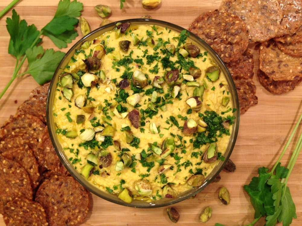 Curried Chickpea Hummus with Pistachios and Parsley