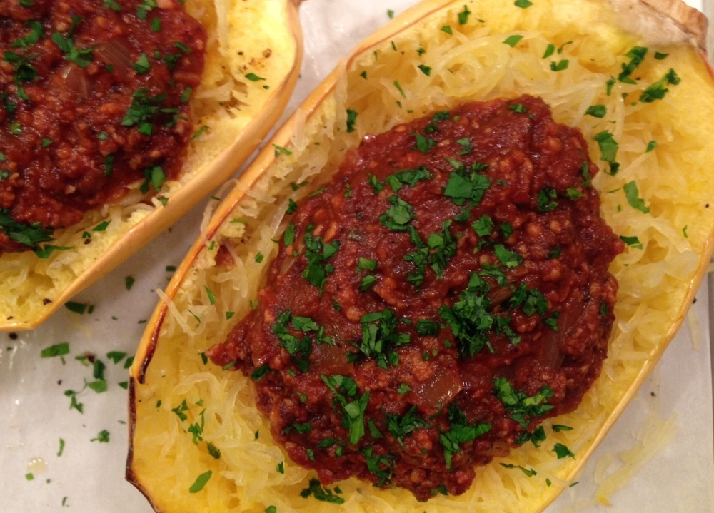Spaghetti Squash boats with tempeh bolognese