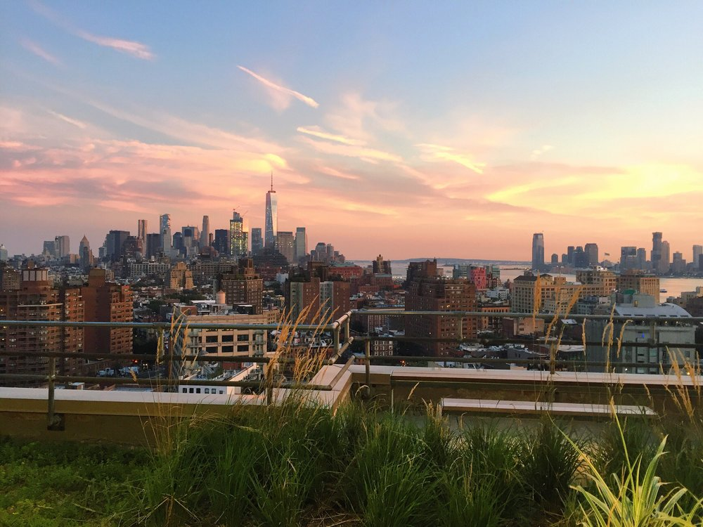 New York City in all her glory from a roof-top garden in Chelsea.