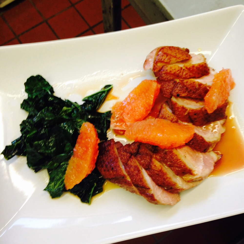 Bad light and blurry, but the plated duck with orange and kale was pretty darn good.