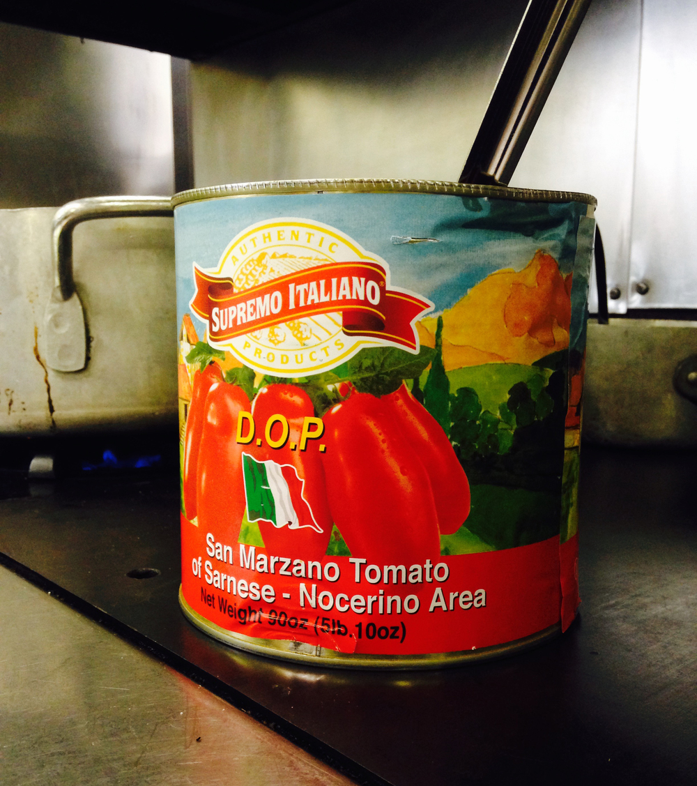 The San Marzano tomatoes that went into our simple tomato sauce.
